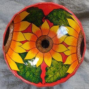 Beautiful hand painted sunflower trinket dish bowl